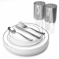 Silver Rim Disposable Plastic Plates, with Silver Cups, Spoo