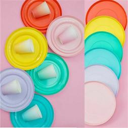 Solid Tableware Party Needs Set Disposable Paper Plates Cups