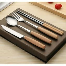 Stainless Steel and Wooden Handle Chopsticks Knife Spoon For