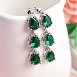 Unique Chic Green Emerald Crystal Silver Tone Dangle Earring