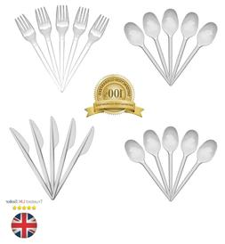 White Plastic Disposable Knives Forks Spoons Cutlery - Stron