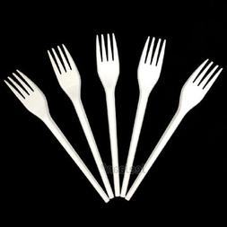 White Plastic Disposable Strong Forks Cutlery Party Wedding