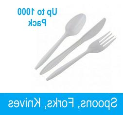 White Plastic Spoons 1000 Count or  White Plastic Forks 1000