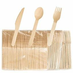 Wooden Disposable Cutlery set, 100 Forks, 100 Spoons, 100 Kn